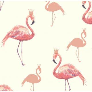 Arthouse Queen Flamingo Coral & Beige Wallpaper - Sparkle Glitter - 674700