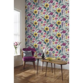 Arthouse Summer Garden Floral Charcoal - Yellow Pink Butterfly Floral Wallpaper
