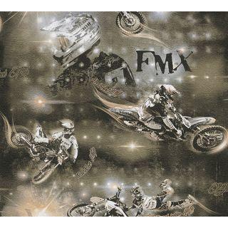 AS-306562 Black/Gold Children's Motorbike Wallpaper