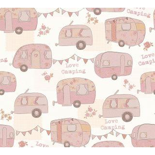 AS-343451 Pink Caravan Camping Children's Wallpaper