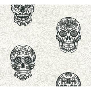 AS-358171 Black / White Skull Wallpaper