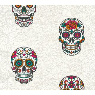 AS-358172  White / Colourful Skull Wallpaper