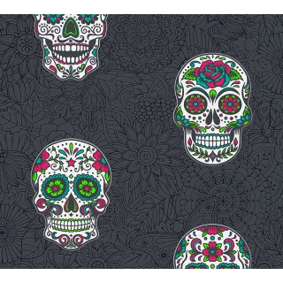 AS-358173 Black / Colourful Skull Wallpaper