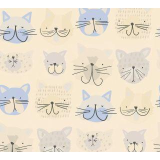 AS-367541 Blue Cat Kitten Children's Wallpaper