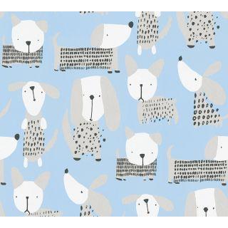 AS-367551 Blue Spotty Dogs Children's Wallpaper