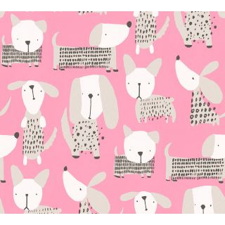 AS-367552 Pink/Brown Spotty Dogs Children's Wallpaper