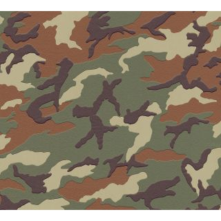 AS-369406 Green Camo Army Print Wallpaper