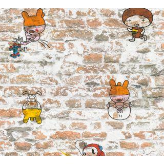 AS-369871 Orange Brick Wall Cartoon Wallpaper