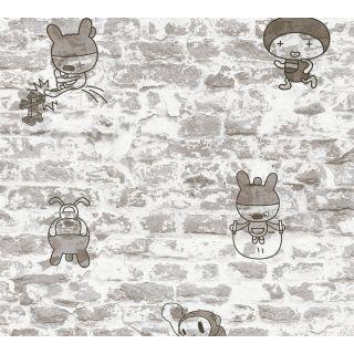 AS-369872 Grey Brick Wall Cartoon Wallpaper