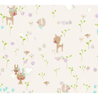 AS-369881 Beige Woodland Animals Children's Wallpaper