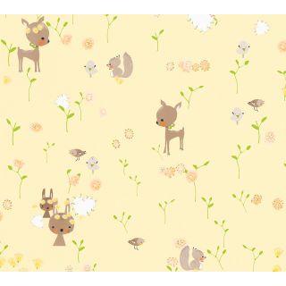 AS-369882 Yellow Woodland Animals Children's Wallpaper