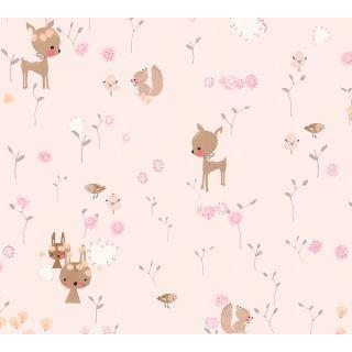 AS-369883 Pink Woodland Animals Children's Wallpaper