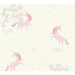 AS-369891 Pink / White Unicorn Children's Wallpaper