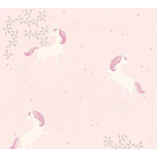 AS-369893 Pink / White Unicorn Children's Wallpaper