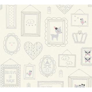 AS-369911 White Animal Picture Frame Children's Wallpaper