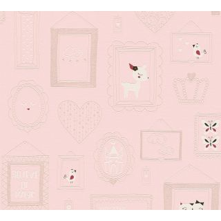 AS-369912 Pink Animal Picture Frame Children's Wallpaper