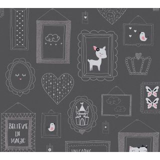AS-369913 Grey Animal Picture Frame Children's Wallpaper