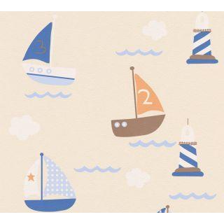 AS-935548  Blue Children's Boats Lighthouse Wallpaper