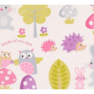 AS-935551 White/Pink Forest Hedgehog Children's Wallpaper