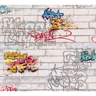 AS935611 White Graffiti Wallpaper
