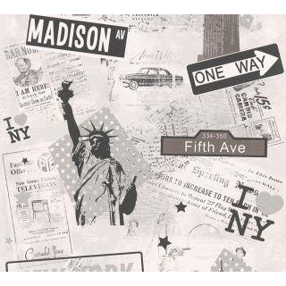 AS-936251 Grey New York Collage Wallpaper