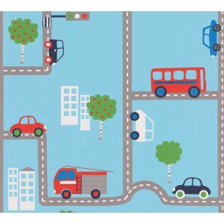 AS-936321 Blue Street Vehicles Children's Wallpaper