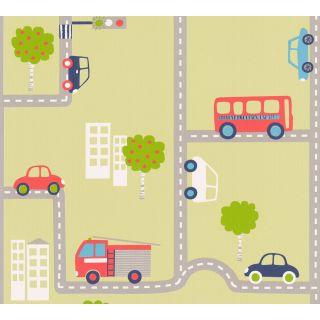 AS-936322 Green Street Vehicles Children's Wallpaper