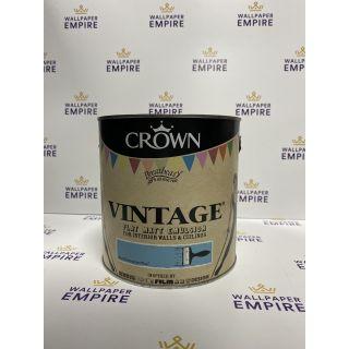 Crown Vintage Flat Matt Emulsion Paint For Interior Walls Ceilings Beat Generation Blue