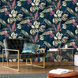 Belgravia Paradise Garden Floral Wallpaper Navy- 6600