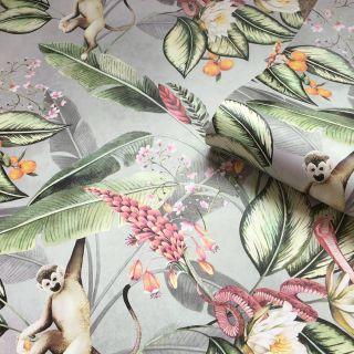 Belgravia Animal Garden Floral Wallpaper Grey - 5500