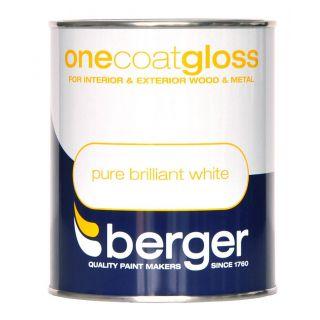 Berger One Coat Gloss 750ml - Pure Brilliant White