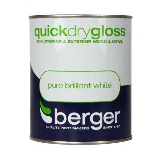 Berger Quick Dry Gloss 750ml - Brilliant White