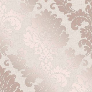 Fine Decor Quartz Pure Metallic Glitter Damask Wallpaper Rose Gold FD42204