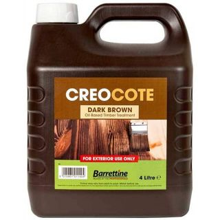 Barrettine Creocote Brown Wood Treatment Timber Stain Preserver Creosote Substitute - Dark 4L