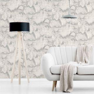 Crown Aura Marble Design Grey/Silver Metallic Wallpaper- M1584