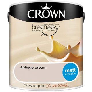 Crown Vintage Flat Matt Emulsion Paint For Interior Walls & Ceilings Crew Cream
