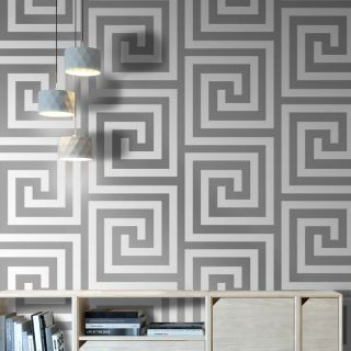 Debona Athena Pearl White Metallic Silver Glitter Crystal Greek Key Wallpaper