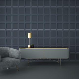 Debona Heritage Wood Panel 3D Effect Blue Wallpaper - 6742