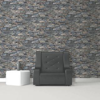 Debona Charcoal Grey Brick Dry Stone Wall Effect Realistic Wallpaper 1281