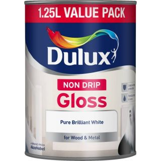 Dulux Non Drip Gloss Paint For Wood And Metal - Pure Brilliant White 1.25L