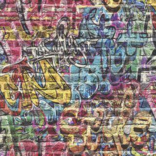 3D Effect Brick Wall Graffiti Wallpaper Spray Paint Teen Kids Boys Girls Rasch