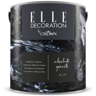 ELLE Decoration by CROWN Flat MATT Emulsion Paint - Absolute Granite No 189 (2.5L)