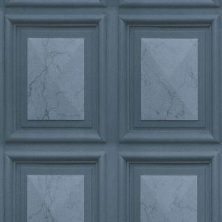 Erismann Imitations Marble Wood Panel Effect Wallpaper Dark Blue 6319-44