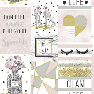 Arthouse Glam Life Pink Wallpaper - Sparkle Glitter Shoes Heart Floral Apex