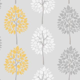 FINE DECOR RIVA MOTIF YELLOW GREEN TEAL TREES LUXURY FEATURE WALLPAPER FD41592