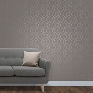 Fine Decor Apex Geometric Trellis Pattern Wallpaper Charcoal Grey/Copper FD41998