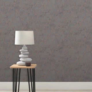 Fine Decor Metallic Marblesque Marble Charcoal Grey & Copper Wallpaper- FD42267