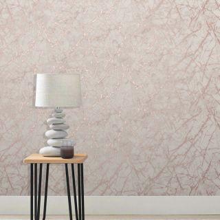 Fine Decor Metallic Marblesque Marble Rose Gold Wallpaper- FD42268