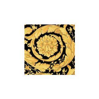 Versace Barocco Scroll Flowers Black/Gold Wallpaper