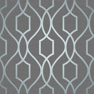 Fine Decor Apex Geometric Trellis Pattern Wallpaper Slate Grey/Metallic Blue
